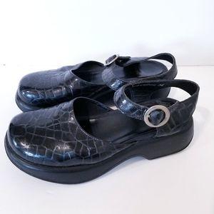Dansko Crocodile Embossed Mary Jane Shoes Size 36